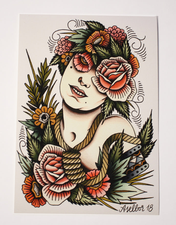 """Flower Girl"" - Anton Aselbor - Beyond Tradition -Tattoo print"
