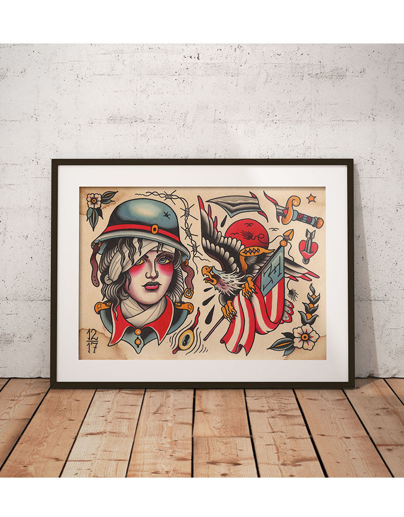 """Battlefield Flash"" - Falk Malisch - Beyond Tradition -Tattoo print"