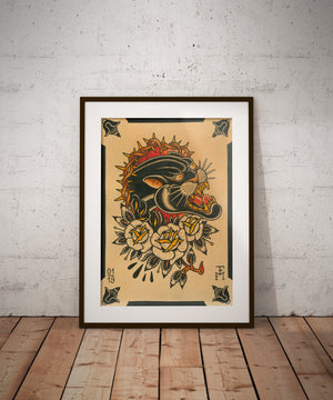 """Panther Portrait"" - Falk Malisch - Beyond Tradition -Tattoo print"