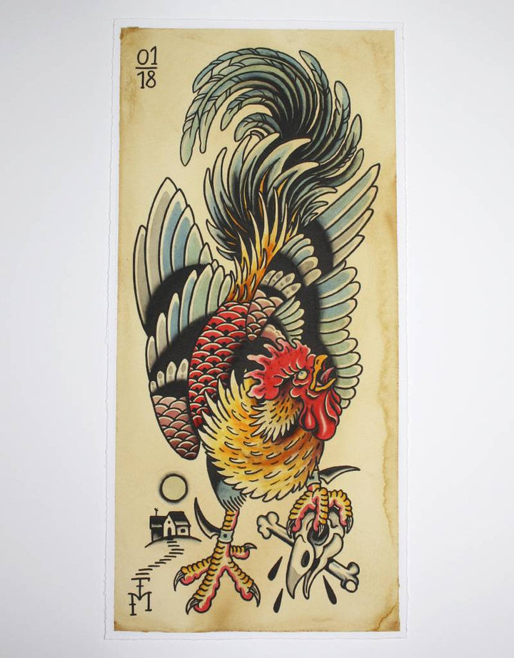 """Rooster"" - Falk Malisch - Beyond Tradition -Tattoo print"
