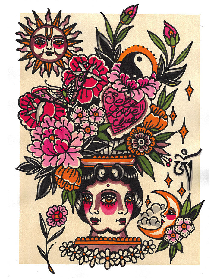 """Self Love Club Vase"" - Ronja Block - Beyond Tradition -Tattoo print"