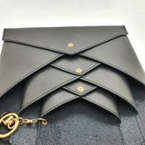 Black Vachetta Leather 3 envelopes clutch / Crossbody Set