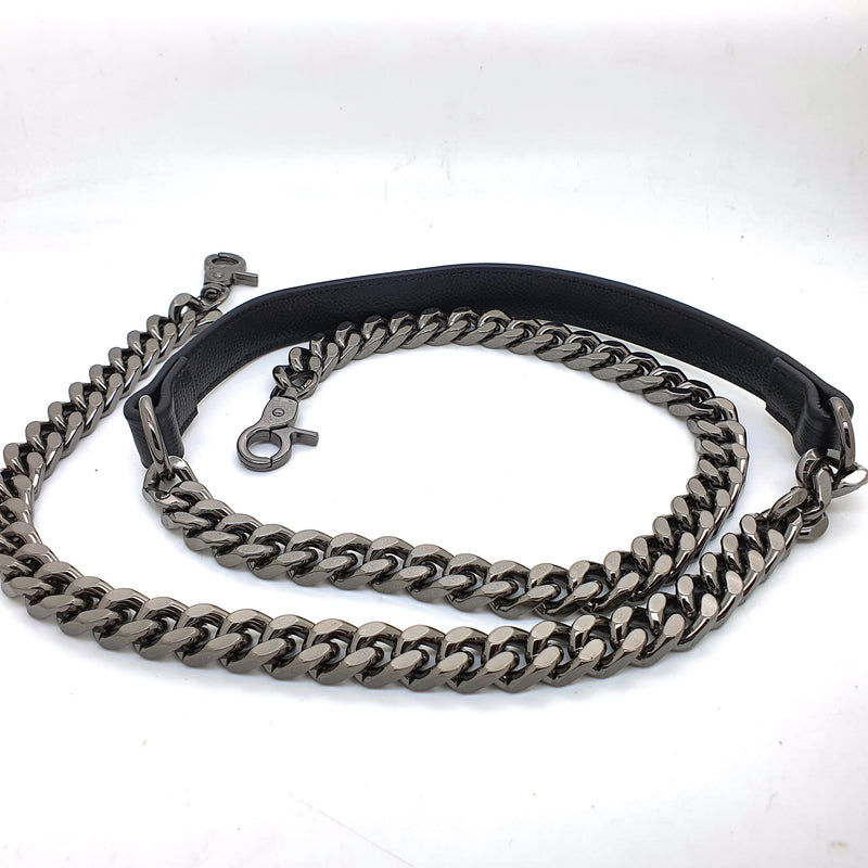 Leather and Metal Chain 120cm (GUNMETAL)