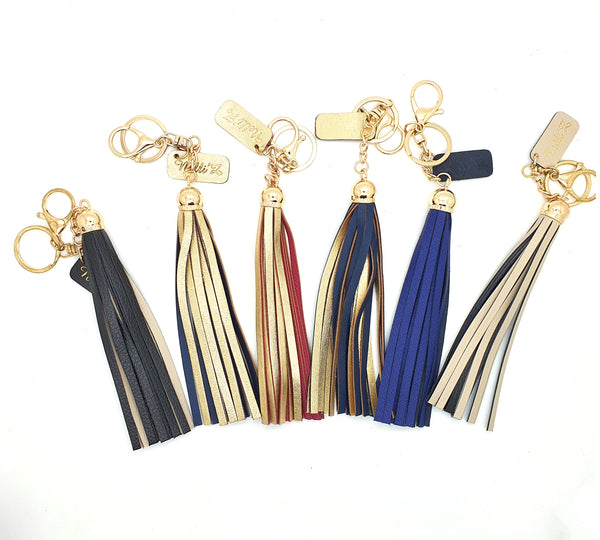 Genuine Leather Long Tassel Bag Charm 15cm