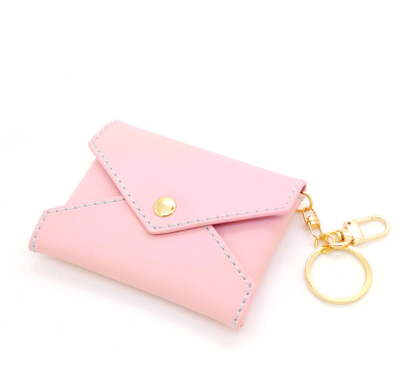 Baby Pink Leather Mini Envelope Bag Charm (Blue interior)