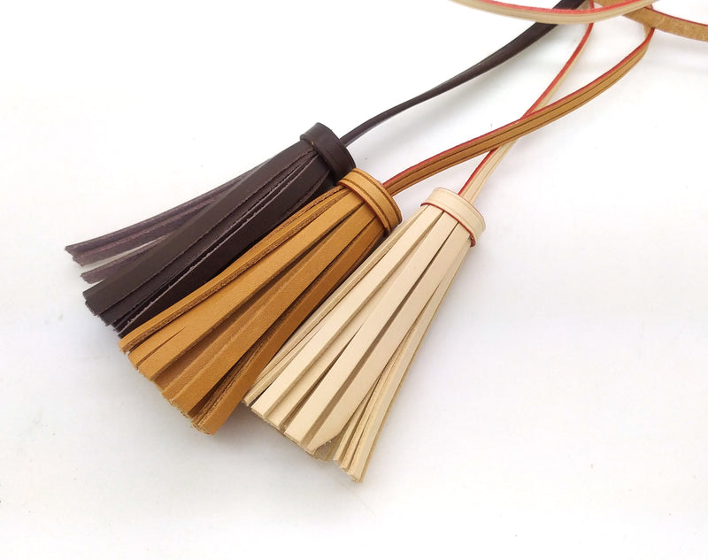 Vachetta Leather Double Tassel Bag Charm
