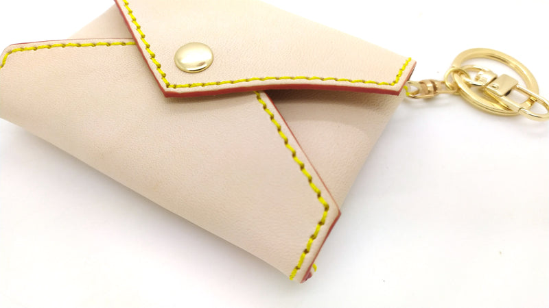 Natural Vachetta Leather Mini Envelope Bag Charm