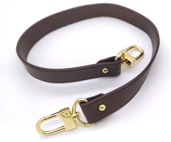 DARK BROWN LEATHER SHORT SHOULDER STRAP 25MM X 60CM