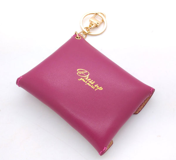 Pivoine Pink Leather Mini Envelope Bag Charm