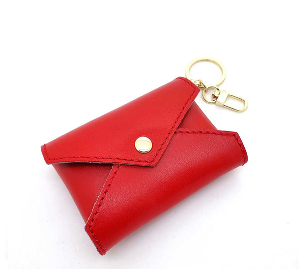 Red Leather Mini Envelope Bag Charm