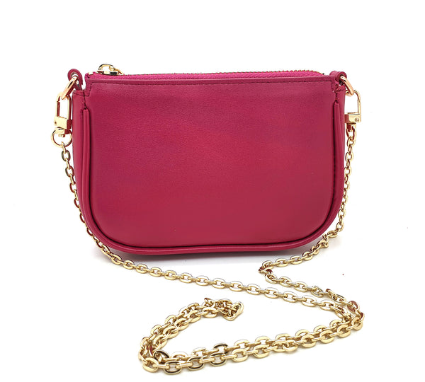 Pink Napa Leather Mini Pochette Bag