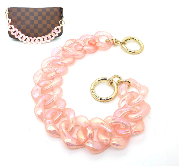 Pink iridescent Acrylic Chain Bag Strap 34 / 60 CM