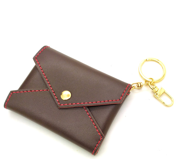 Dark brown Leather Mini Envelope Bag Charm