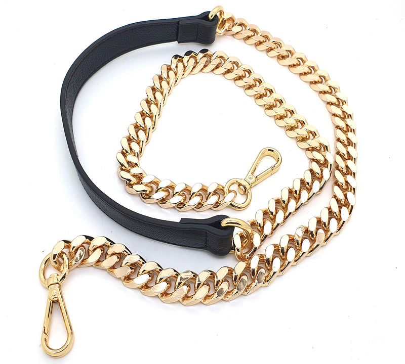 Leather and Metal Chain 120cm (golden)