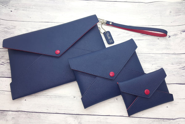 Genuine Leather 3 Pouches Clutch Set