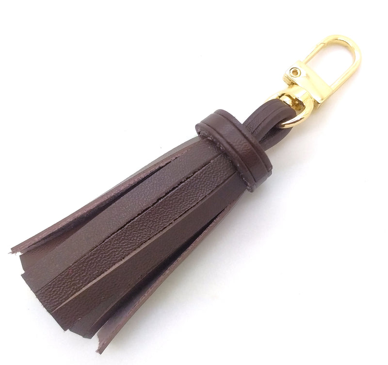 Vachetta Leather Mini Tassel Bag Charm 10cm