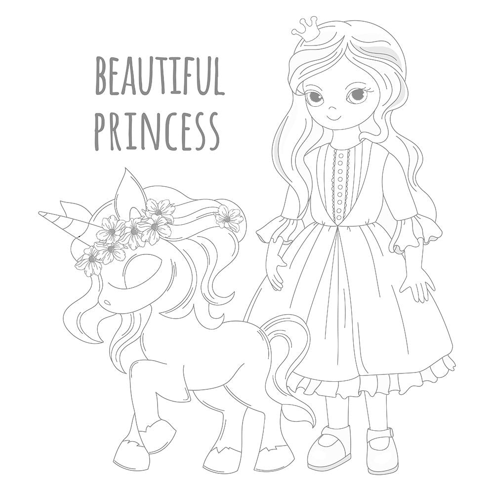 Coloriage licorne et beautiful princess