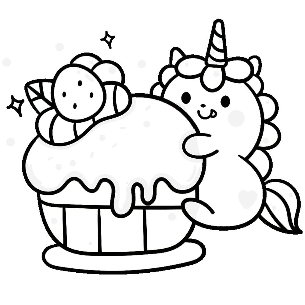 Coloriage caticorn et cupcake
