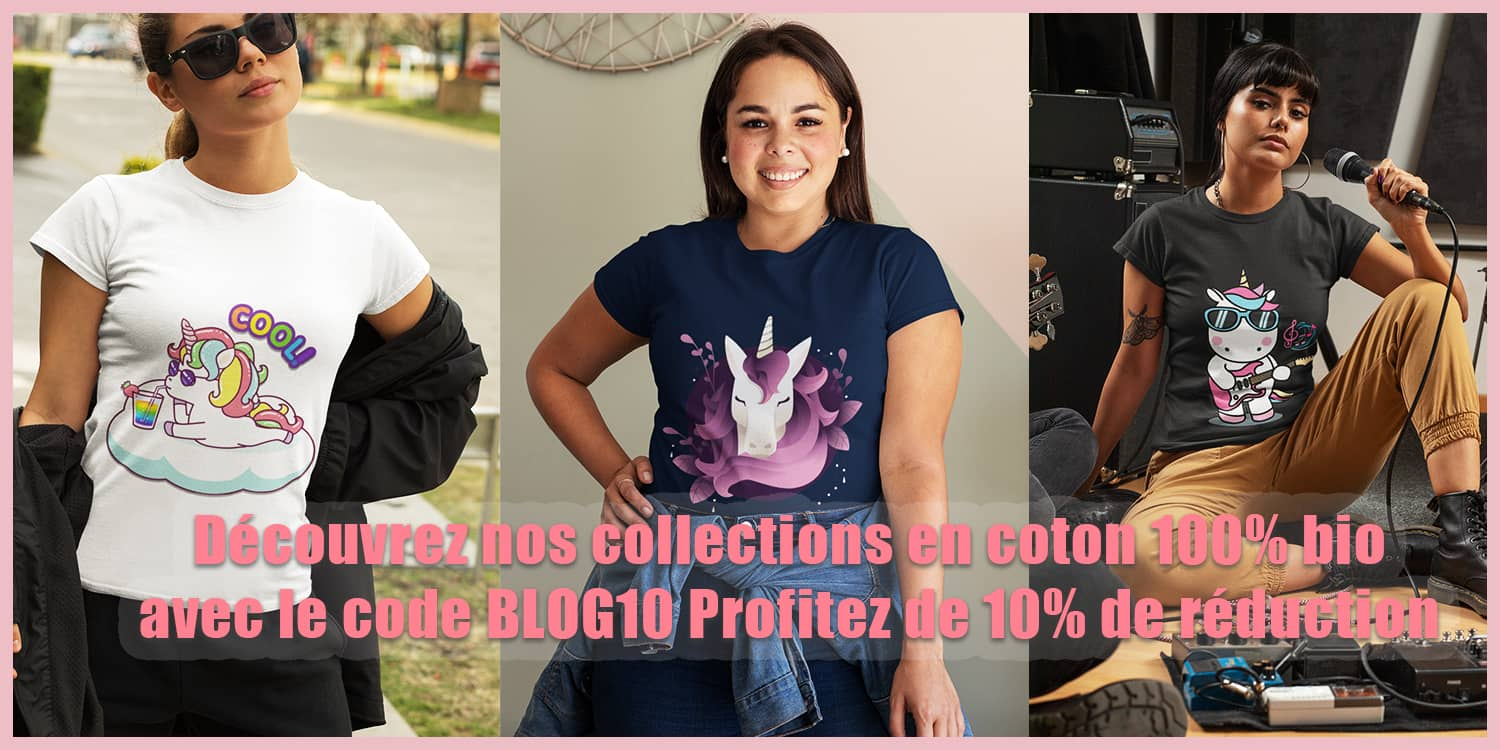 collection t shirt licorne coton bio