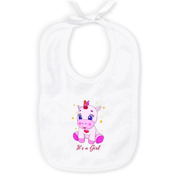 Bavoir Licorne It's a Girl coton bio