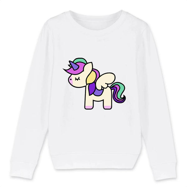 Sweat Licorne cute blanc coton bio