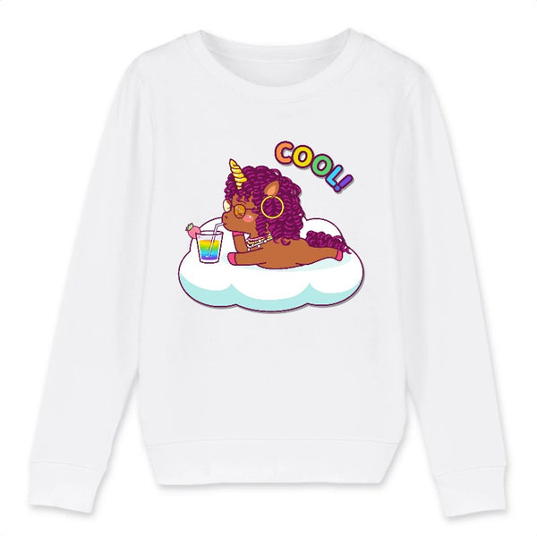 Sweat licorne cool curly enfant blanc coton bio