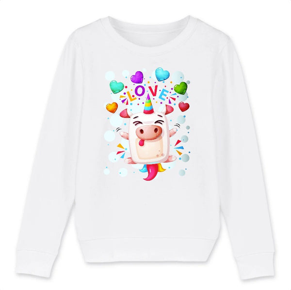 Sweat licorne crazy love enfant blanc coton bio