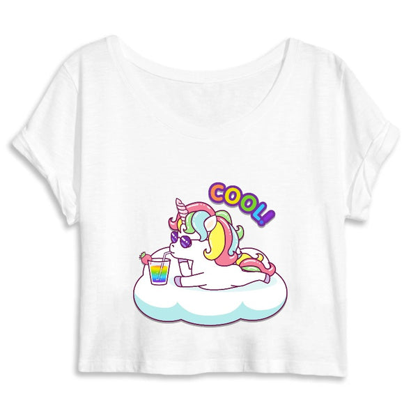 crop top licorne cool blanc coton bio