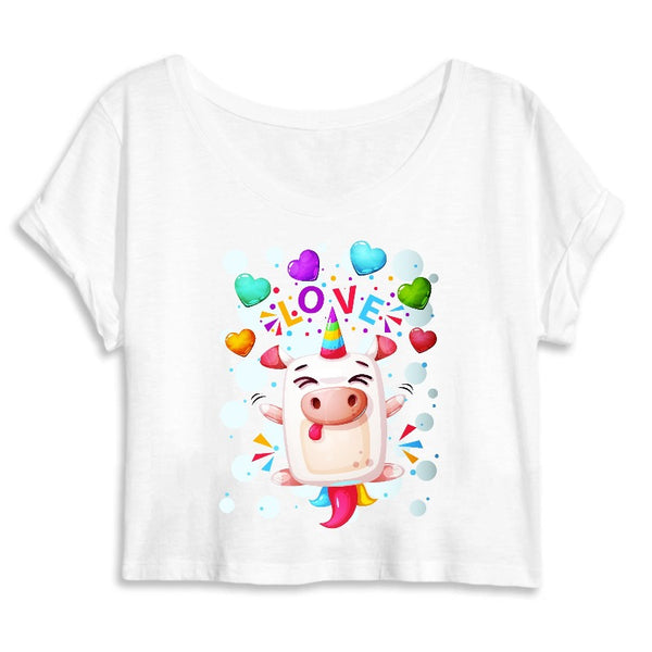 Crop top licorne crazy love blanc coton bio