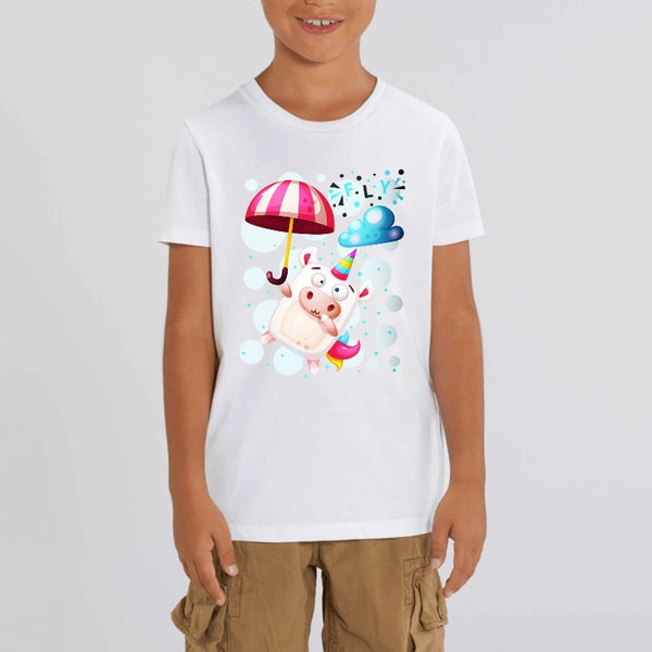 T-shirt enfant licorne crazy fly blanc