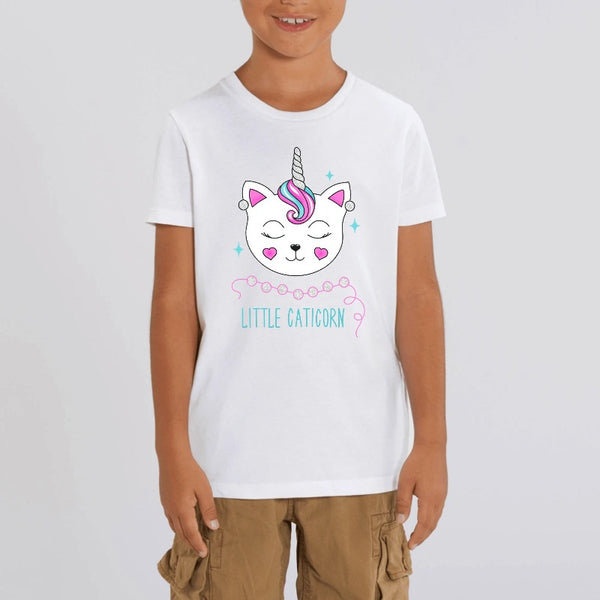t-shirt licorne enfant little caticorn blanc coton bio