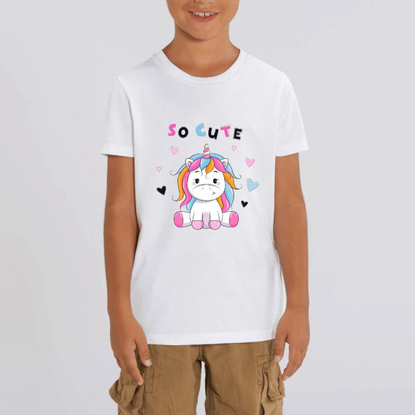 t-shirt licorne enfant blanc so cute coton bio