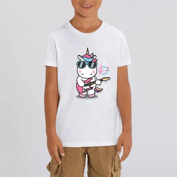 t-shirt licorne enfant blanc play the guitar coton bio