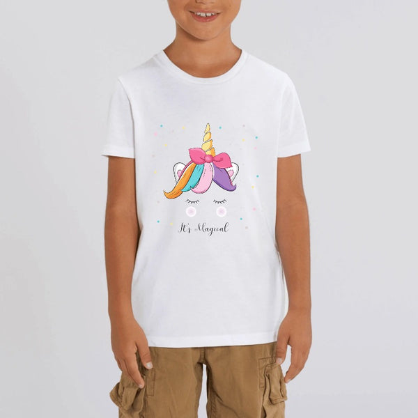 t-shirt licorne enfant blanc it's magical coton bio