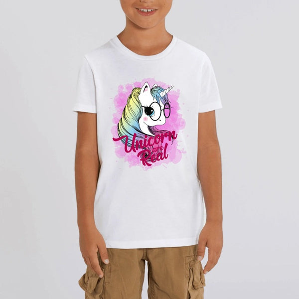 t-shirt licorne enfant blanc unicorn are real coton bio