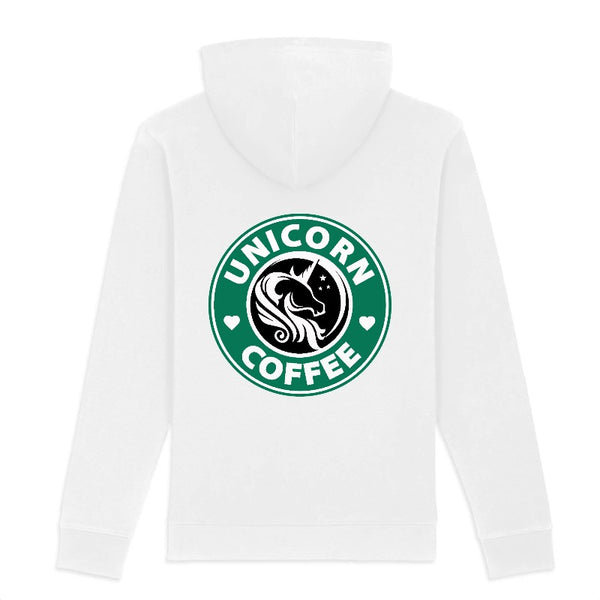 sweat licorne femme unicorn coffee back blanc