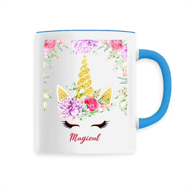 Mug Licorne Magical Décor Floral bleu