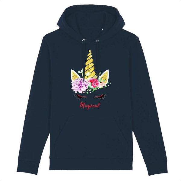 sweat hoodie licorne magical marine coton bio