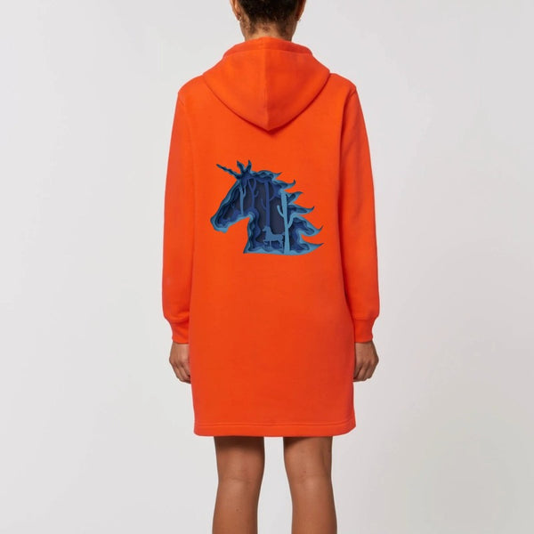 Robe hoodie licorne féerique orange back