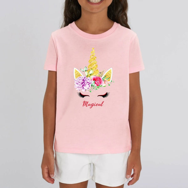 t-shirt licorne magical enfant rose coton bio