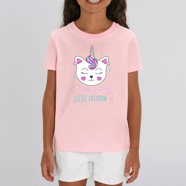 t-shirt licorne enfant little caticorn rose coton bio