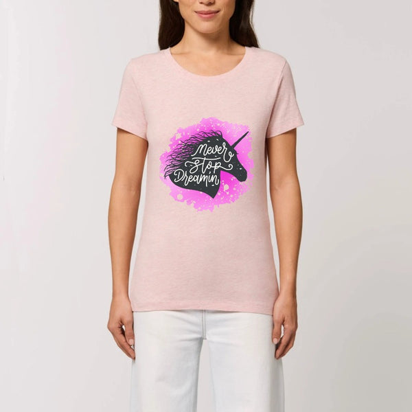 t-shirt licorne never stop dreaming rose coton bio