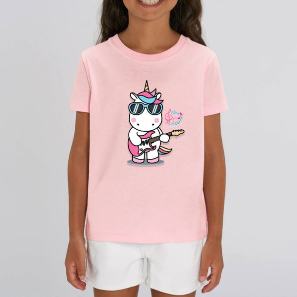 t-shirt licorne enfant rose play the guitar coton bio