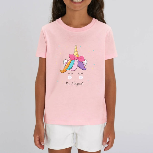 t-shirt licorne enfant rose it's magical coton bio