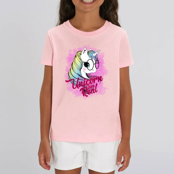 t-shirt licorne enfant rose unicorn are real coton bio