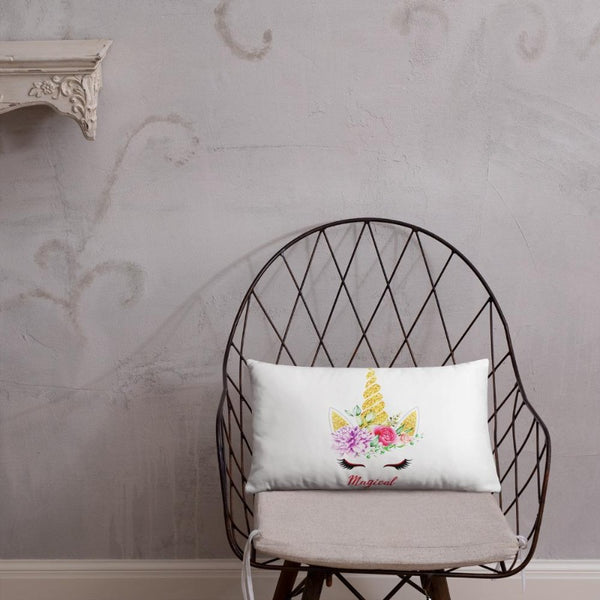 Coussin licorne magical blanc 50x30