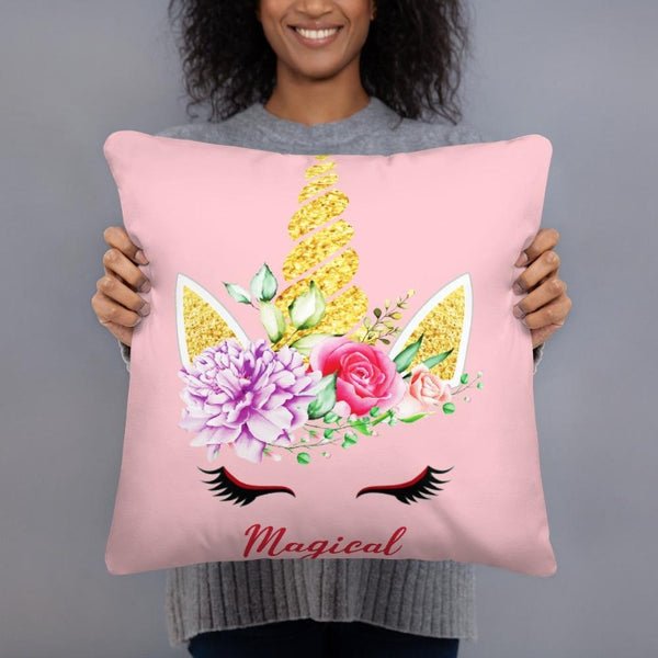 Coussin licorne magical rose 45x45