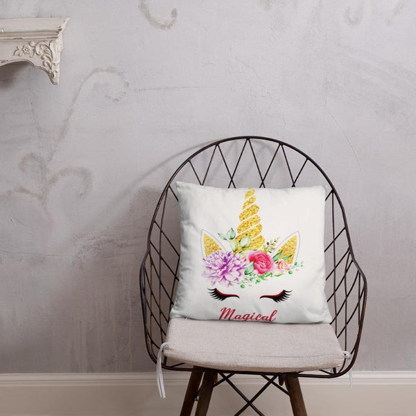 Coussin licorne magical blanc 45x45