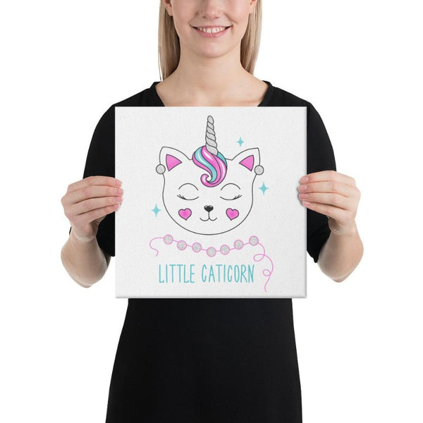 tableau licorne little caticorn 30x30