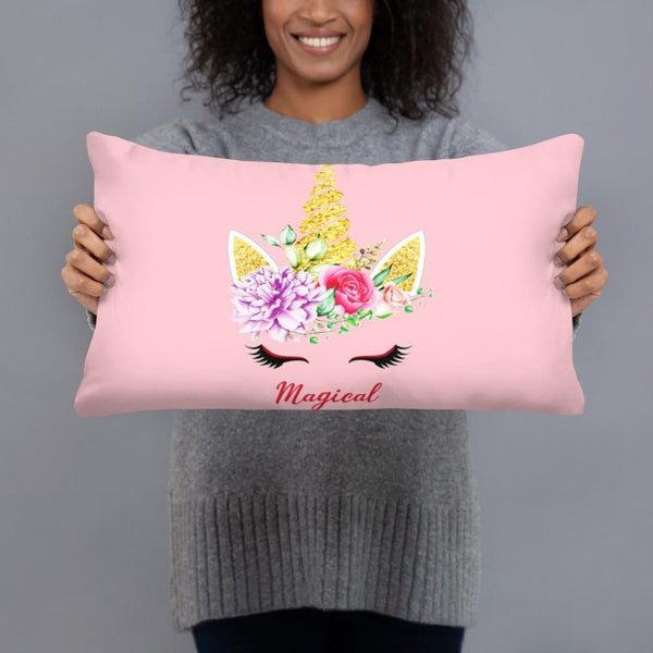 Coussin licorne magical rose 50x30